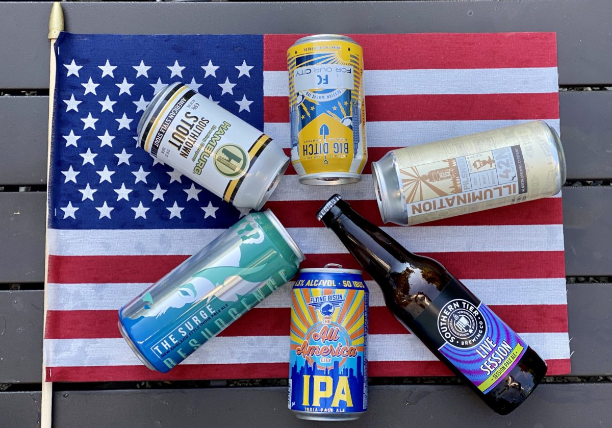 Buffalo craft beer on an American flag